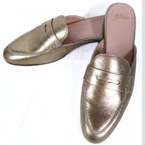 J. Crew Metallic Gold Penny Slider Loafers Sz 10